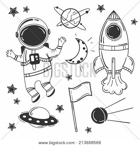 Astronaut cartoon space set. Rocket spaceship moon