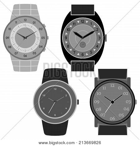 Set of four black and white watches on white background. Clock face with hour minute and second hands. Vector illustration.