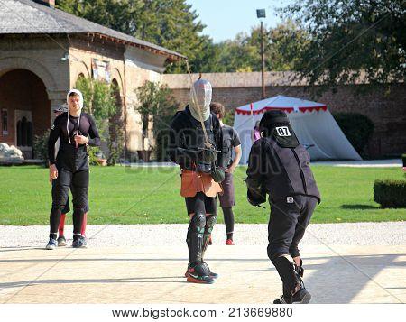 MOGOSOAIA, ROMANIA - OCTOBER 13, 2017: Optimus Bucharest HEMA Open - Longsword - Autumn 2017 - Longsword competion at Mogosoaia Palace