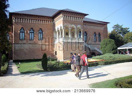 MOGOSOAIA, ROMANIA - OCTOBER, 12 - People visiting beautiful Mogosoaia Palace, in Romania.