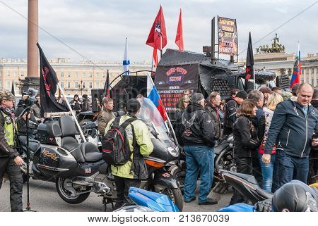 St. Petersburg Russia - September 25 2017: Bikers on the Palace Square. Closing season