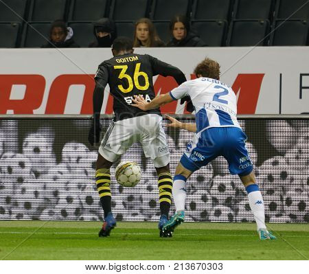 SOLNA SWEDEN - OCT 30 2017: Soccer player Henok Goiom (AIK) dribble. October 30 2017SolnaSweden