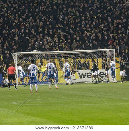 SOLNA SWEDEN - OCT 30 2017: AIK scores in the soccer game between AIK and IFK Gothenburg. October 30 2017SolnaSweden