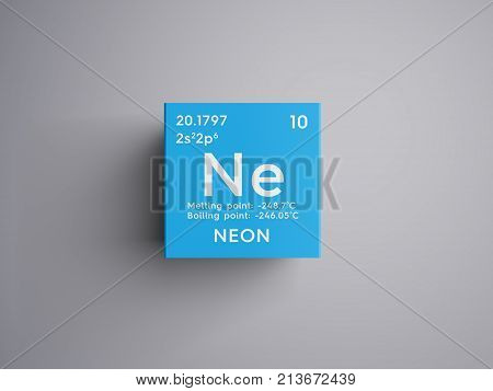 Neon. Noble Gases. Chemical Element Of Mendeleev's Periodic Table. 3D Illustration.