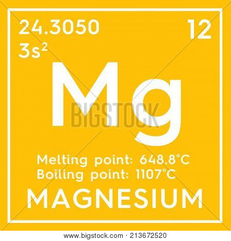 Magnesium. Alkaline Earth Metals. Chemical Element Of Mendeleev's Periodic Table 3D Illustration.