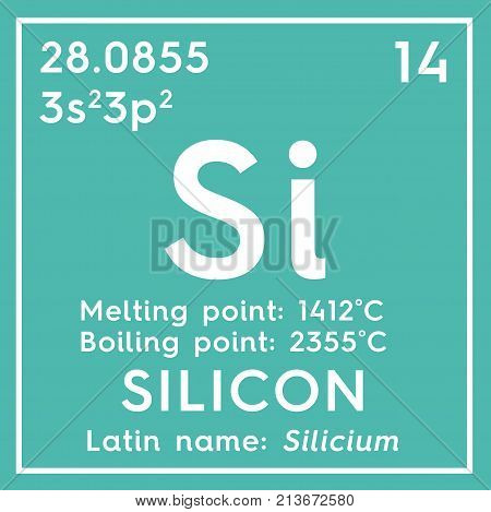 Silicon. Silicium. Metalloids. Chemical Element Of Mendeleev's Periodic Table 3D Illustration.