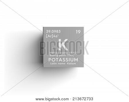 Potassium. Kalium. Alkali Metals. Chemical Element Of Mendeleev's Periodic Table 3D Illustration.