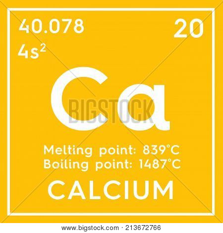 Calcium. Alkaline Earth Metals. Chemical Element Of Mendeleev's Periodic Table. 3D Illustration.
