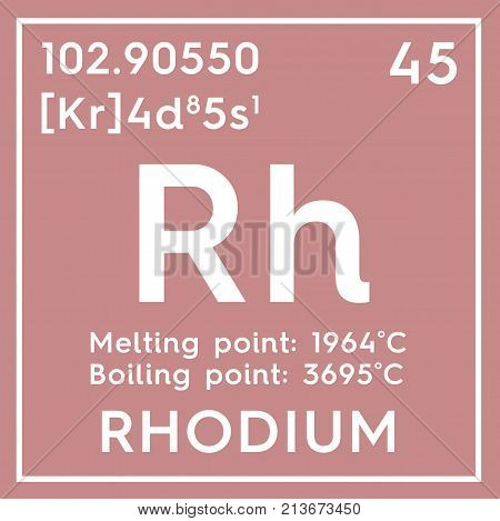Rhodium. Transition Metals. Chemical Element Of Mendeleev's Periodic Table. 3D Illustration.