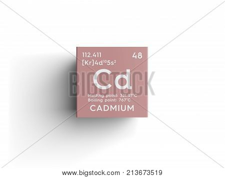 Cadmium. Transition Metals. Chemical Element Of Mendeleev's Periodic Table.. 3D Illustration.