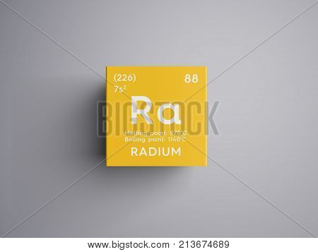 Radium. Alkaline earth metals. Chemical Element of Mendeleev's Periodic Table. Radium in square cube creative concept. 3D illustration. poster