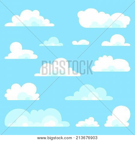 Fluffy clouds vector set - Collection of stylized cloud for sky background. White simple cloud silhouettes.