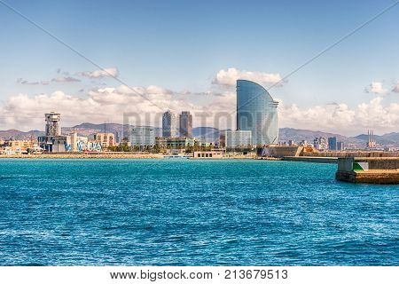 View Of The Waterfront From The Port, Barcelona, Catalonia, Spain