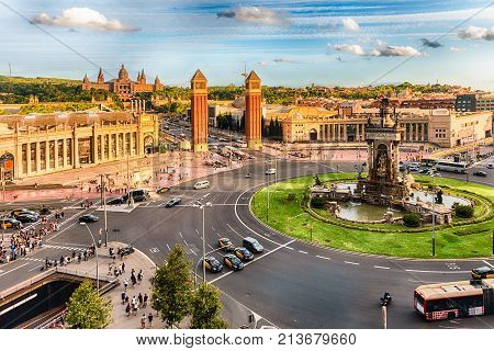 Aerial View Of Placa D'espanya, Landmark In Barcelona, Catalonia, Spain