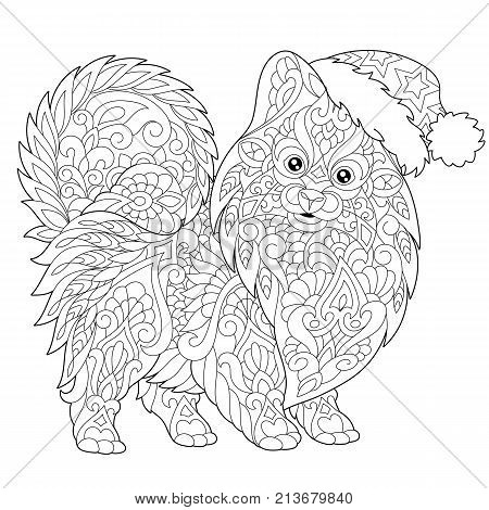 Coloring page of pomeranian dog symbol of 2018 Chinese New Year. Freehand sketch drawing for Merry Christmas greeting card or adult antistress coloring book with doodle and zentangle elements.