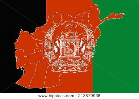 Map And Flag Of Afghanistan