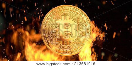 Bitcoin - bit coin BTC cryptocurrency money burning in flames and fire sparkles