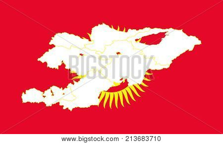 Map And Flag Of Kyrgyzstan