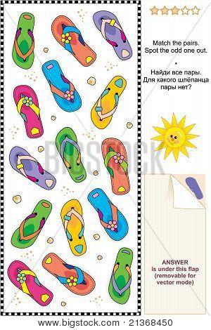 Colorful flip-flops visual logic puzzle