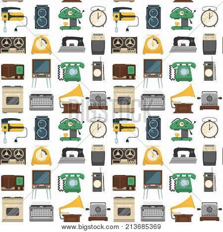 Retro vintage household appliances vector seamless pattern background. Kitchenware antique technology utensil symbols. Housework electric equipment domestic tools.