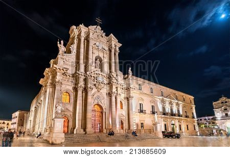 Syracuse Cathedral and Archbishop's Palace in Syracuse at night - Sicily, Italy