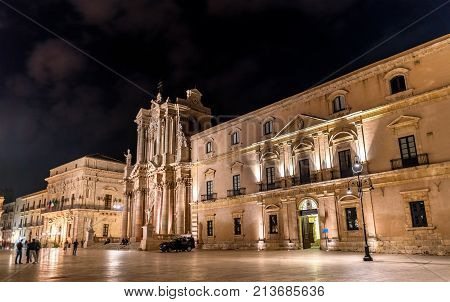 Archbishop's Palace and Syracuse Cathedral in Syracuse at night - Sicily, Italy