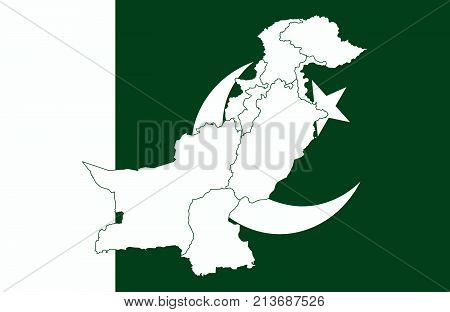 Map And Flag Of Pakistan
