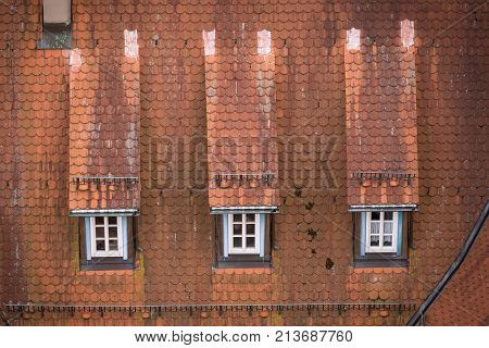 View to red roof of old traditional German house in Bad Wimpfen, Baden-Wurttemberg, Germany