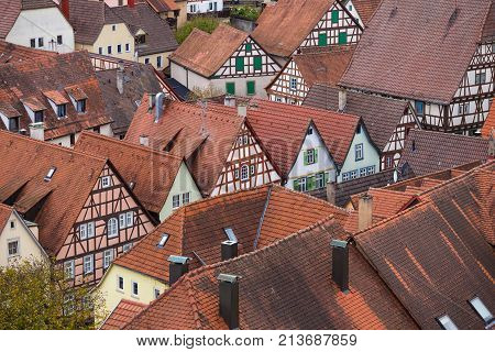 View to red roofs of old traditional German houses in Bad Wimpfen, Baden-Wurttemberg, Germany