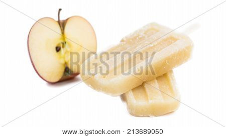 Fresh Made Apple Popsicles Isolated On White