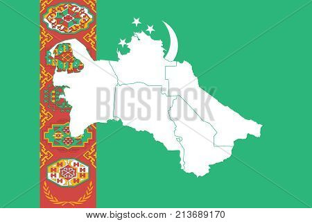 Map And Flag Of Turkmenistan