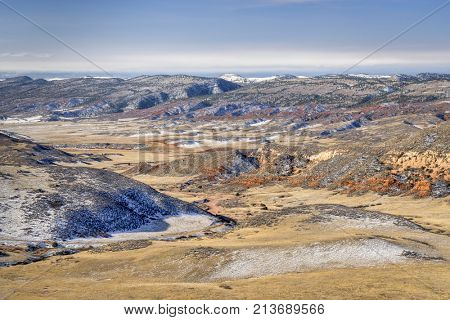 fall or winter scenery in Red Mountain Open Space in northern Colorado, a view Cheyenne Rim trail