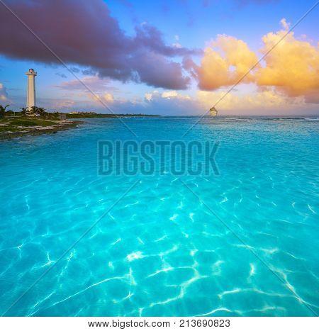 Mahahual Caribbean beach sunset in Costa Maya of Mayan Mexico