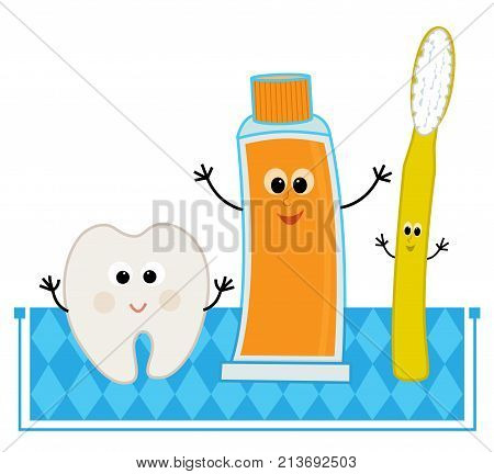Cute cartoon of a happy tooth, toothpaste and toothbrush. Eps10
