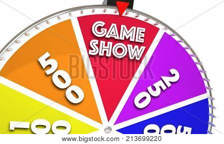 Game Show Spinning Wheel Win Big Prize 3d Illustration