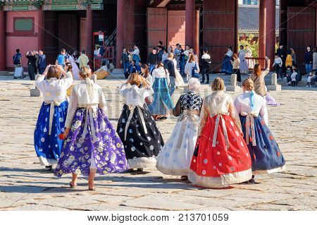 Tourists Wearing Colorful Korean Traditional Dress Hanbok, Seoul