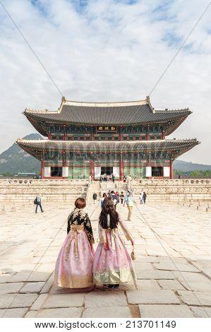 Girls Wearing Korean Traditional Dress Hanbok, Seoul