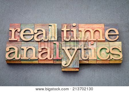 real time analytics word abstract in vintage letterpress wood type against slate stone