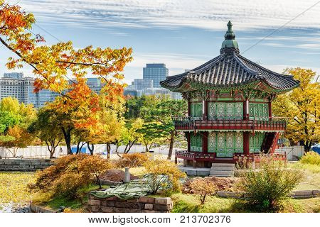 Hyangwonjeong Pavilion Among Colorful Autumn Trees In Seoul