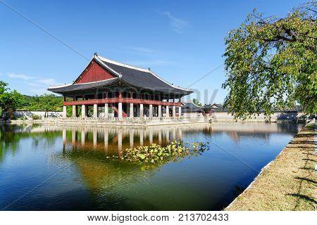 Wonderful View Of Gyeonghoeru Pavilion And Gyeongbokgung Palace