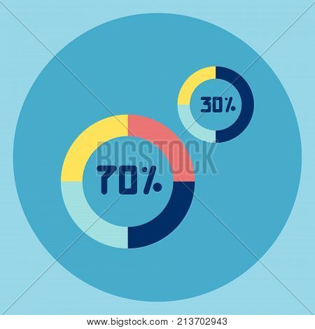 Pie Diagram With Percent Number Icon Flat Vector Illustration