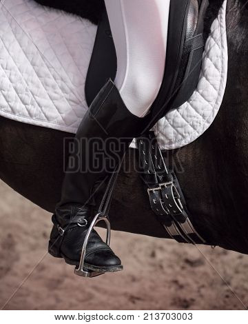 The jockey sits in the saddle on a horse shooting close-up. Leg in treko crooks and boots is in the stirrup. A pedigree horse for equestrian sport.