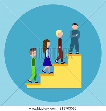 People Os Podium Stairs Icon Business Winner Success Concept Flat Vector Illustration