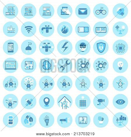 Set Of Smart House Technology Icons Modern Home Control System Vector Illustration