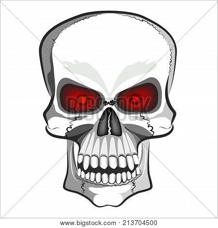 Abstract image of a human skull isolated on white