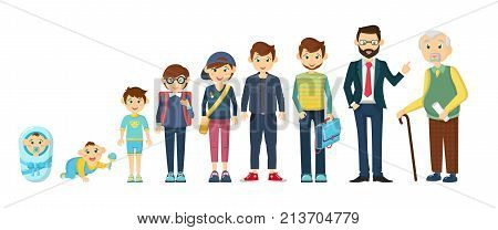Complete cycle of person's life from childhood to old age. Newborn baby, toddler, school-age guy, hipster student, male businessman, elderly grandfather old man. Vector illustration character cartoon person.