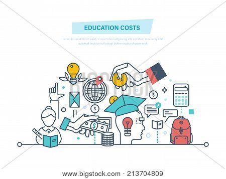 Education cost concept. Invest money in education, study cash, tuition fees, tax, pay, spending education money investment. Calculation, management. Illustration thin line design of vector doodles.