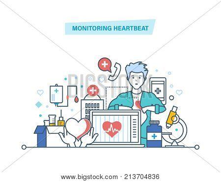 Monitoring heartbeat. Service, healthcare, medicine. Computer medical diagnostics, remote medical aid. Medical insurance, service, online consultation. Illustration thin line design of vector doodles.