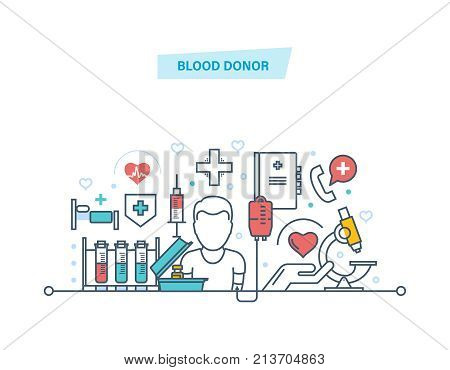 Blood donor. Volunteer, medical research, medicine and healthcare. Blood transfusion equipment, help, medical support, medical assistance for people in need of donation. Illustration thin line design of vector doodles.