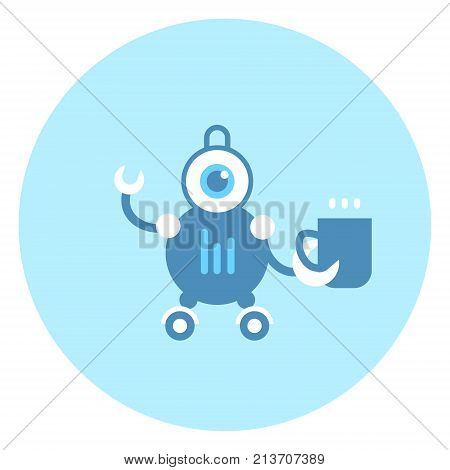 Robot Holding Cup Icon Modern Housework Technology Vector Illustration